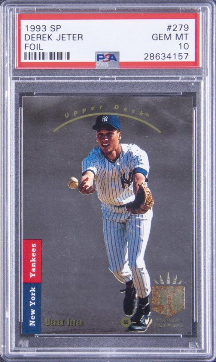 A 1993 SP Derek Jeter rookie card sold by Goldin Auctions.