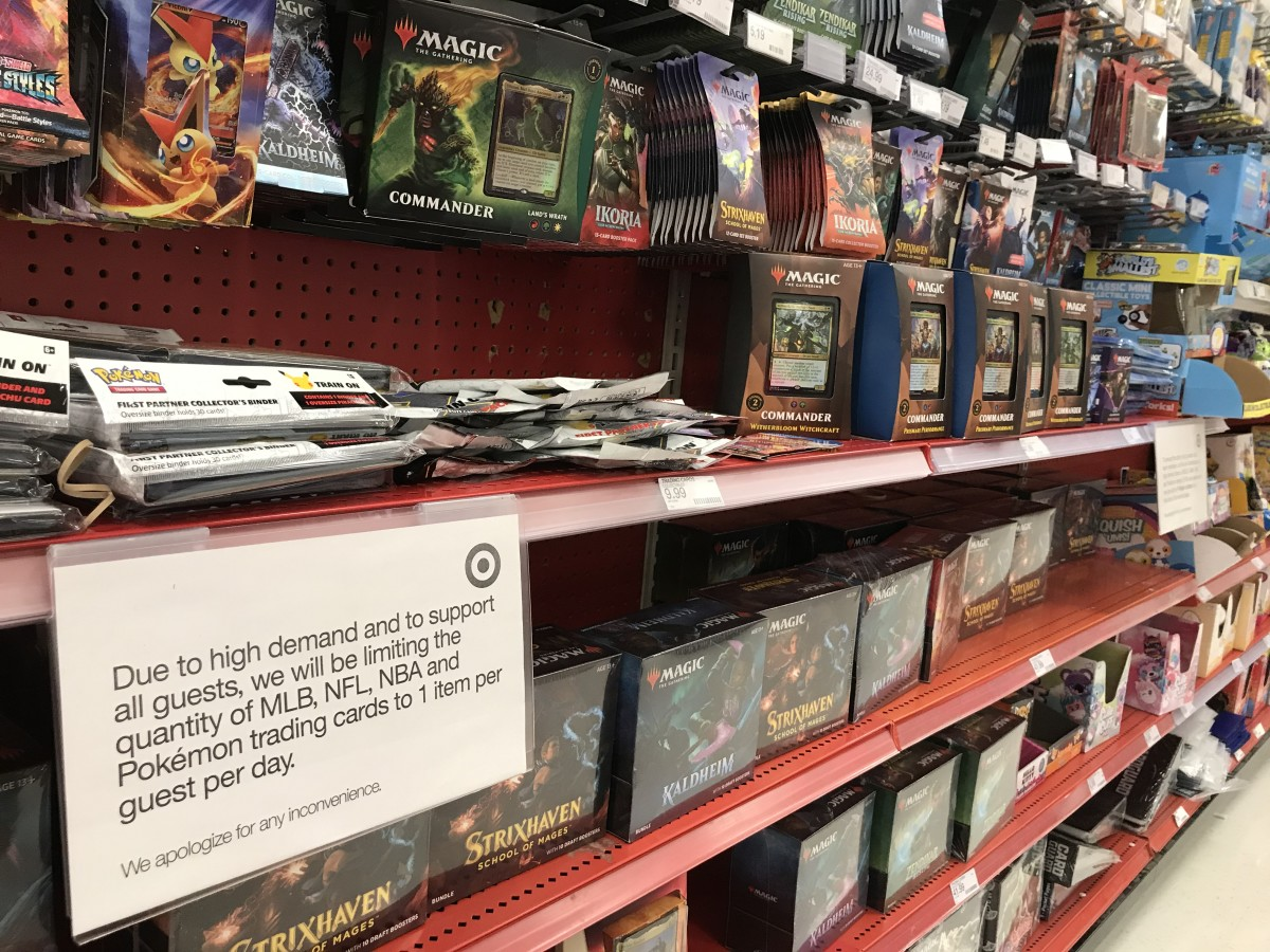 A Target sign notifies customers that they can only purchase one box of trading cards per person.