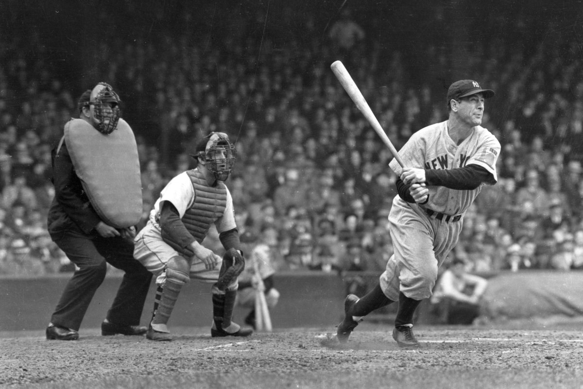 Lou Gehrig smacks a double against the White Sox at Yankee Stadium in 1938. Gehrig had the greatest 13-year stretch in baseball history from 1926-38.