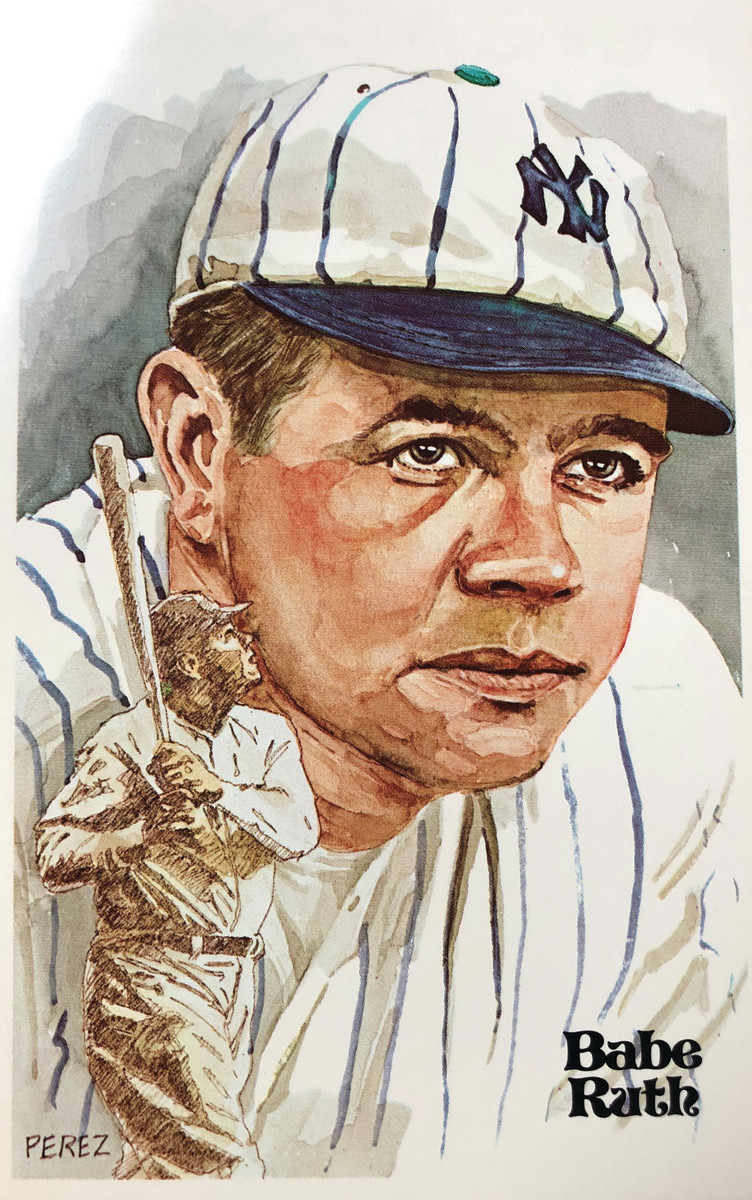 Dick Perez illustration of Babe Ruth.