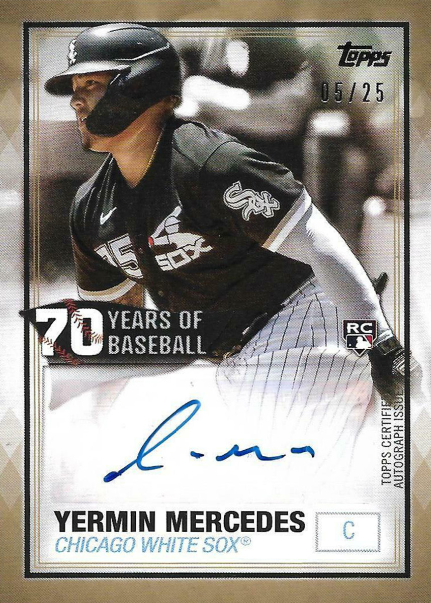 A Topps 70 Years of Baseball card featuring White Sox rookie Yermin Mercedes.