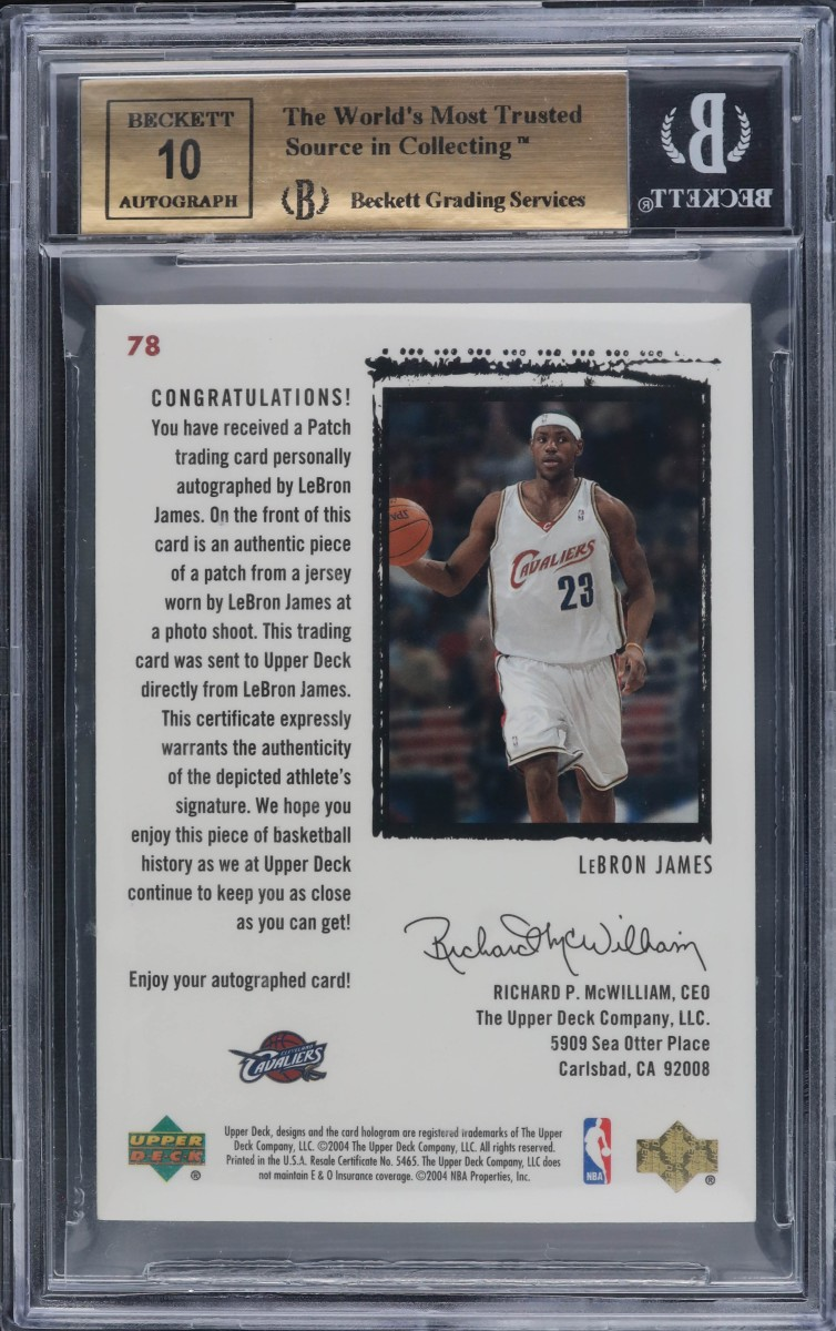 Back of 2003-04 LeBron James Exquisite Collection rookie card.