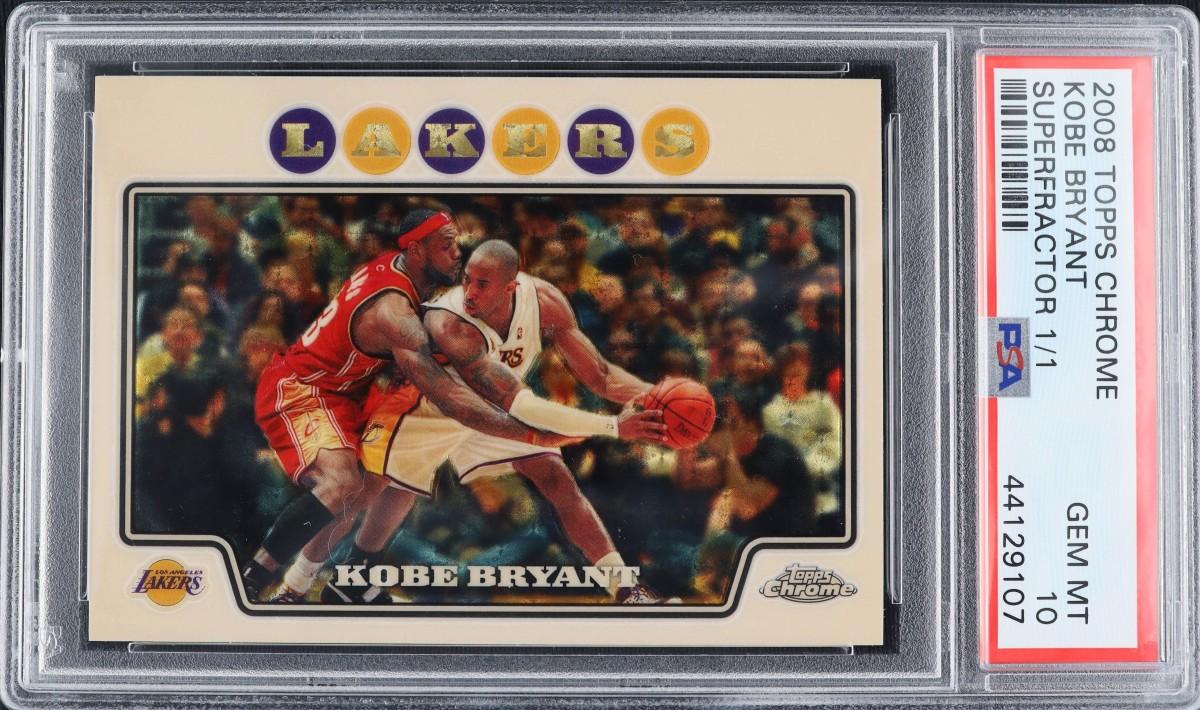 2008 Topps Chrome Superfractor featuring LeBron James guarding Kobe Bryant.