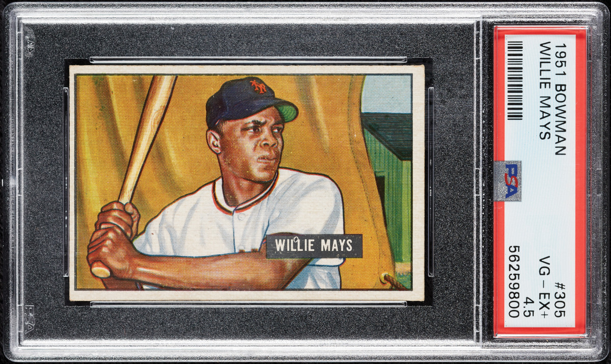 A 1951 Bowman Willie Mayes at Collect Auctions.