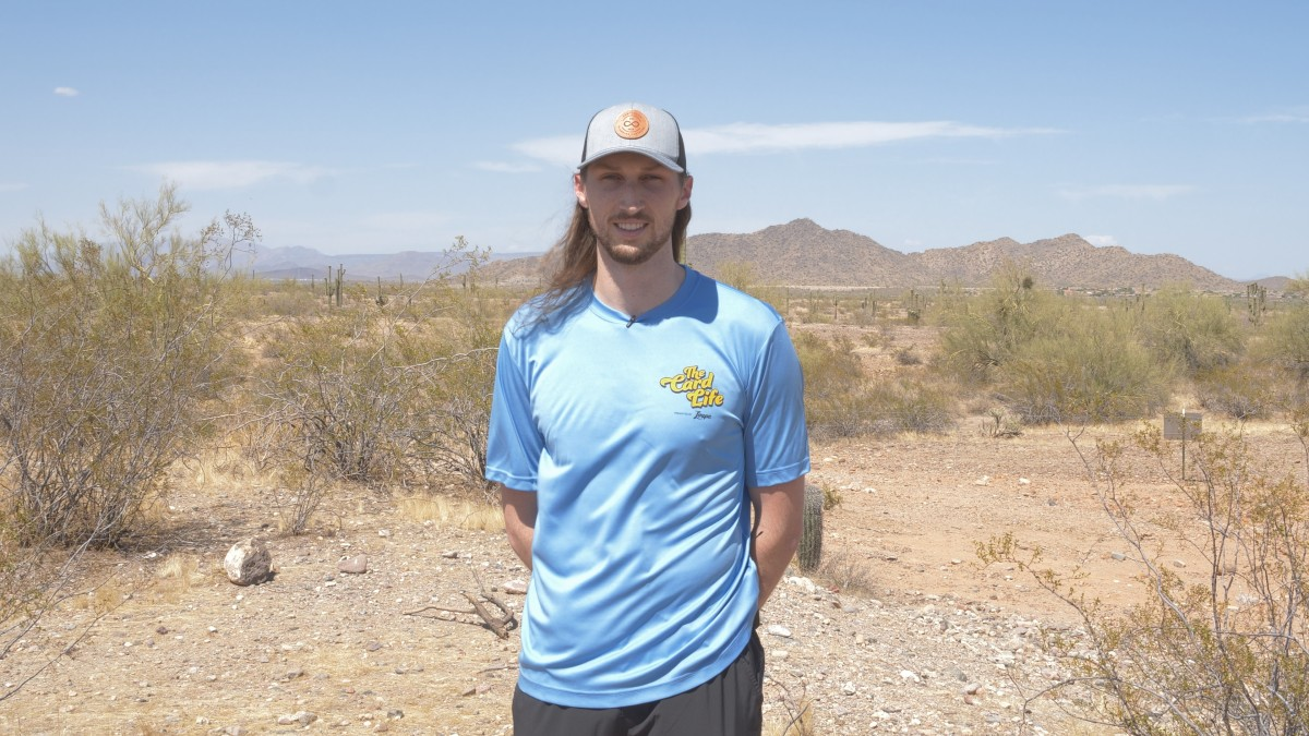 Matt Strahm on camera for The Card Life in the desert near Peoria, Ariz.