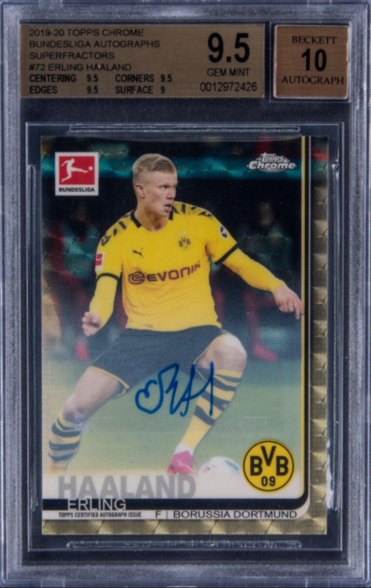2019-20 Topps Chrome Erling Haaland autographed card.