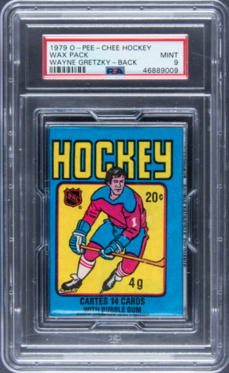 1979 O-Pee-Chee Hockey unopened wax pack featuring Wayne Gretzy on the back.