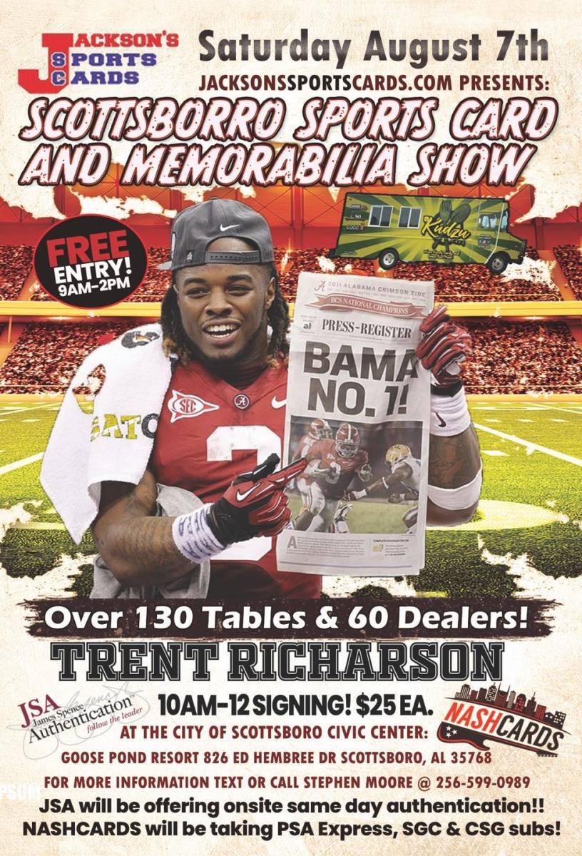 Flyer for the Aug. 7 Scottsboro Sports Card Show in Scottsboro, Ala.