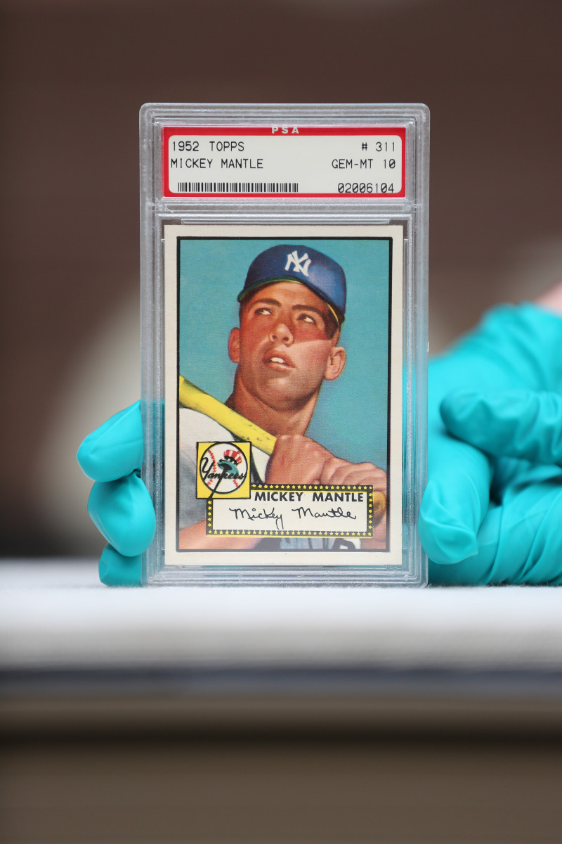 This 1952 Topps Mickey Mantle, graded PSA 10, is part of the Marshall Fogel Collection.