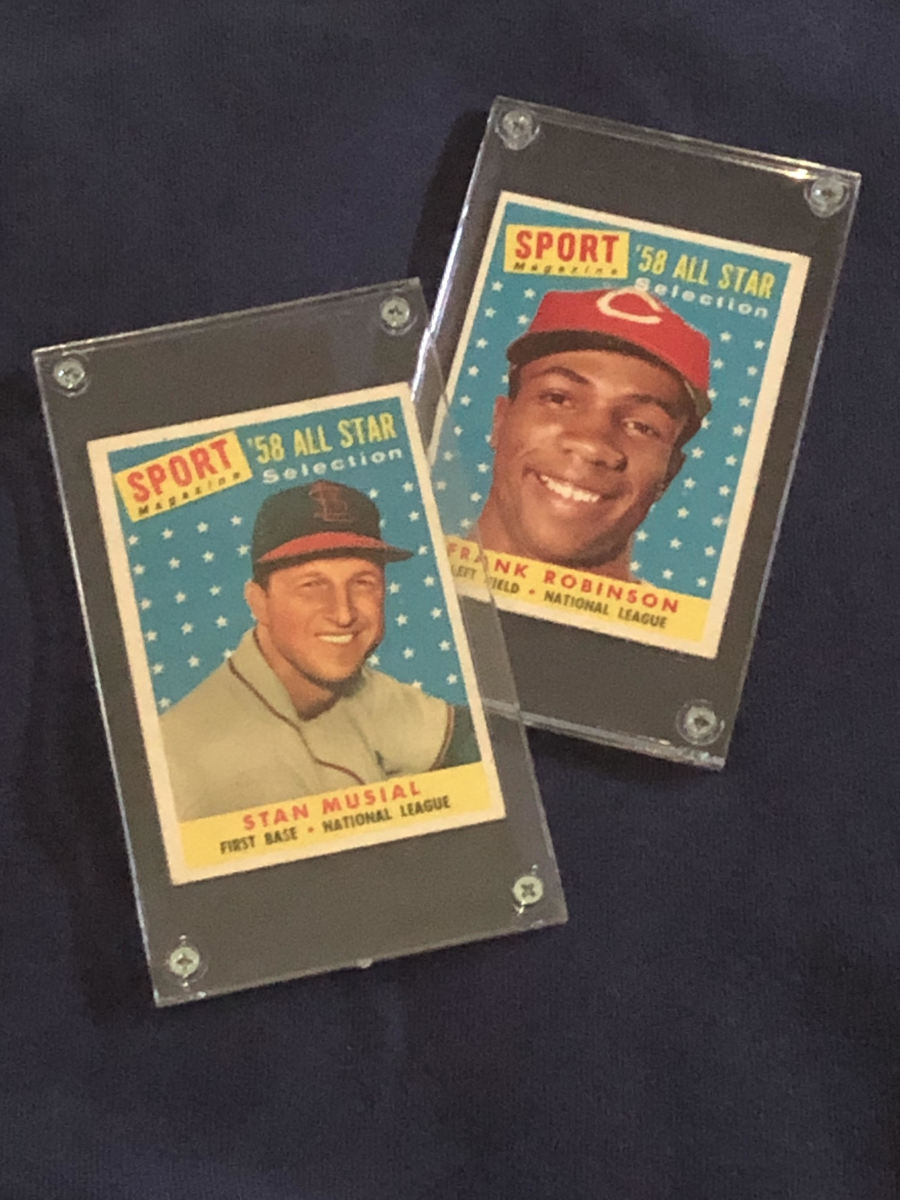1958 All-Star cards of Stan Musial and Frank Robinson.