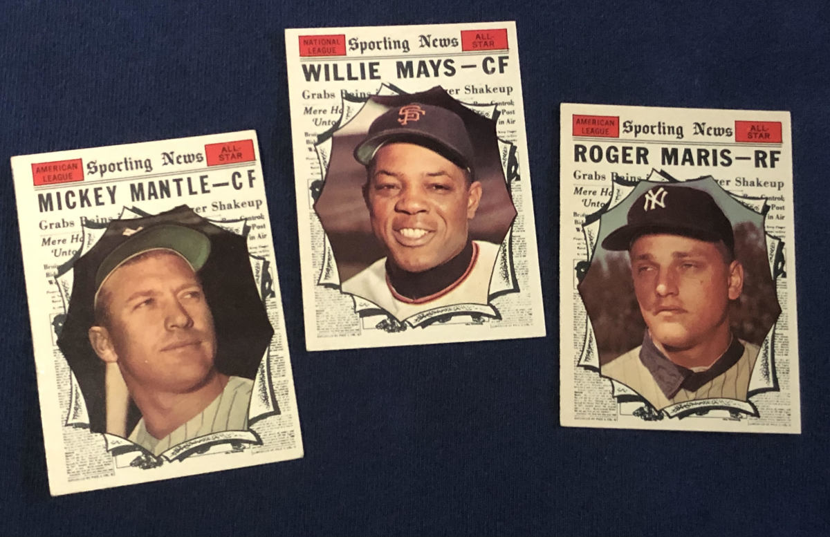 1961 All-Star cards of Mickey Mantle, Willie Mays and Roger Maris.