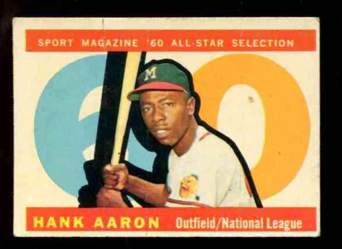 1960 Sport Magazine All-Star card of Hank Aaron.