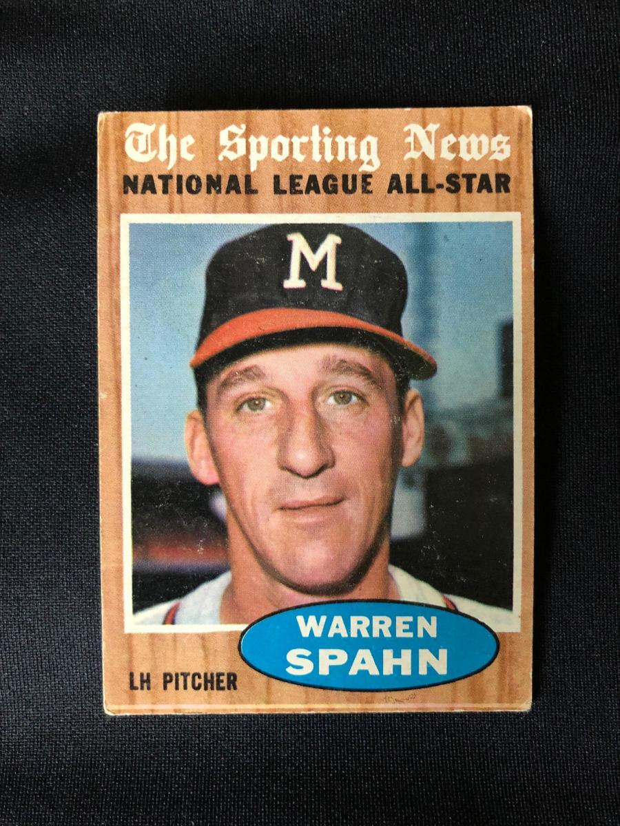 1962 Warren Spahn Sporting News All-Star card.