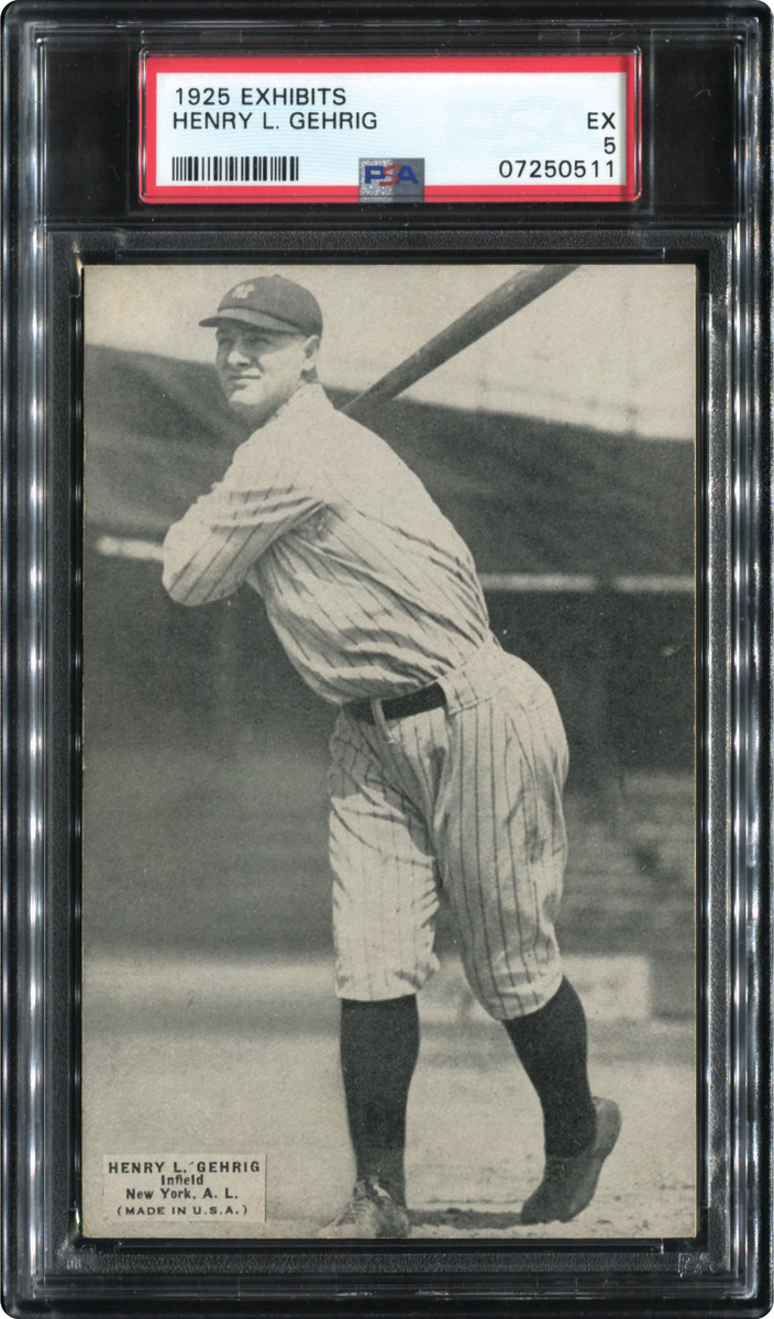 1925 Exhibits Lou Gehrig card from the Thomas Newman Collection.