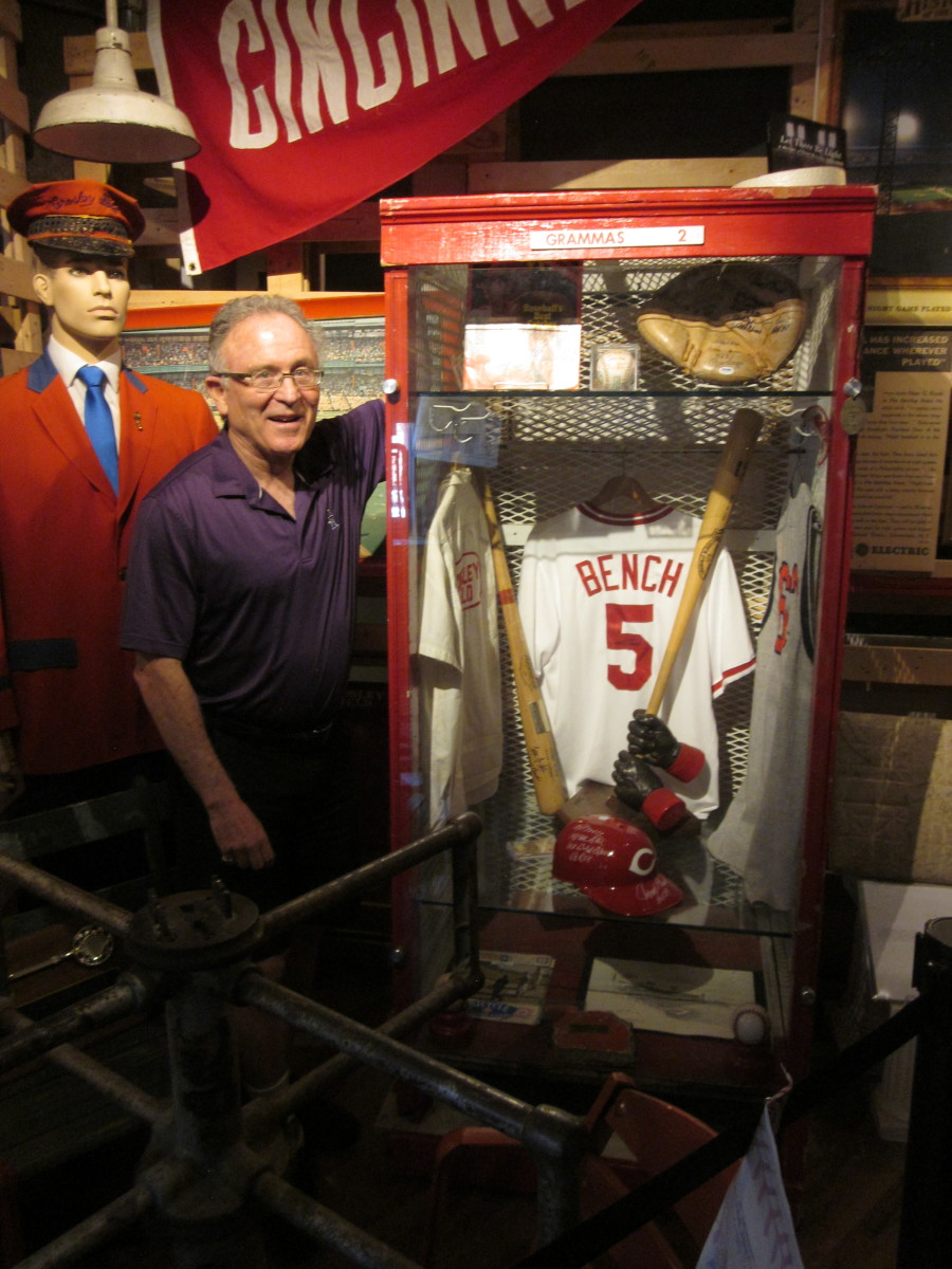 Bruce Hellerstein with his Crosley Field exhibit at the National Ballpark Museum.