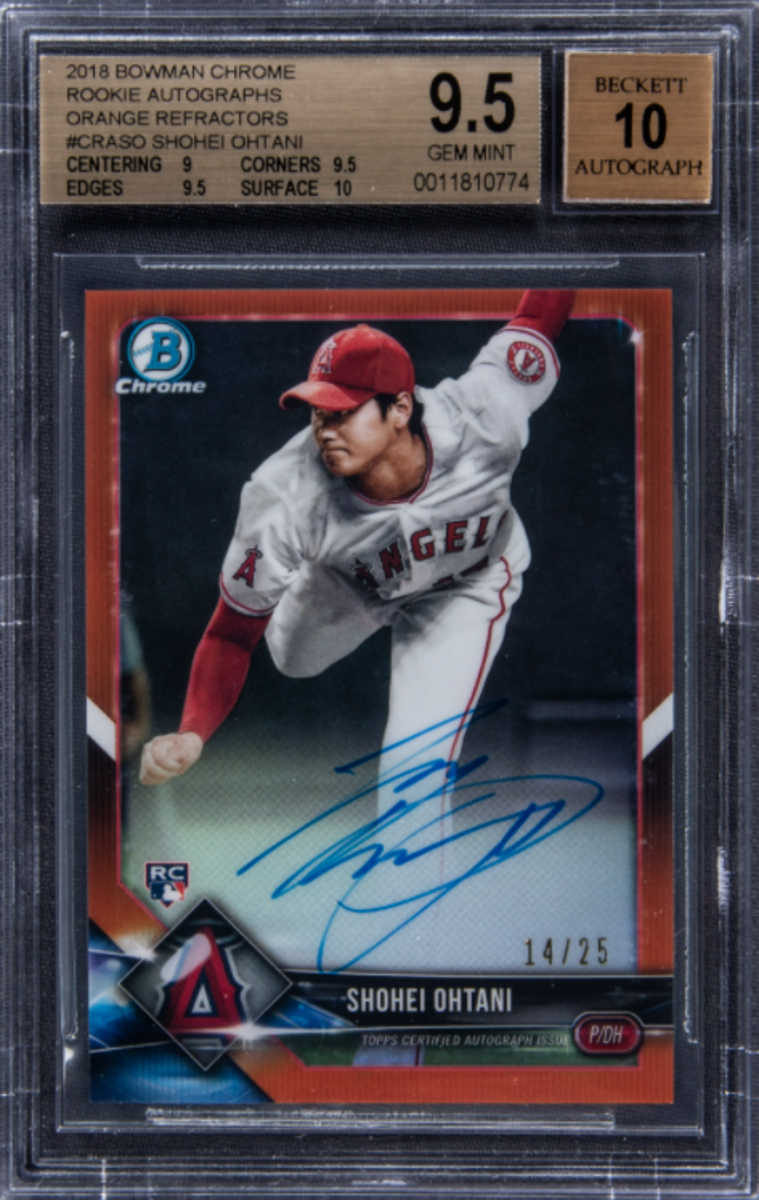 A 2018 Bowman Chrome Shohei Ohtani Orange Refractor sold by Goldin Auctions.
