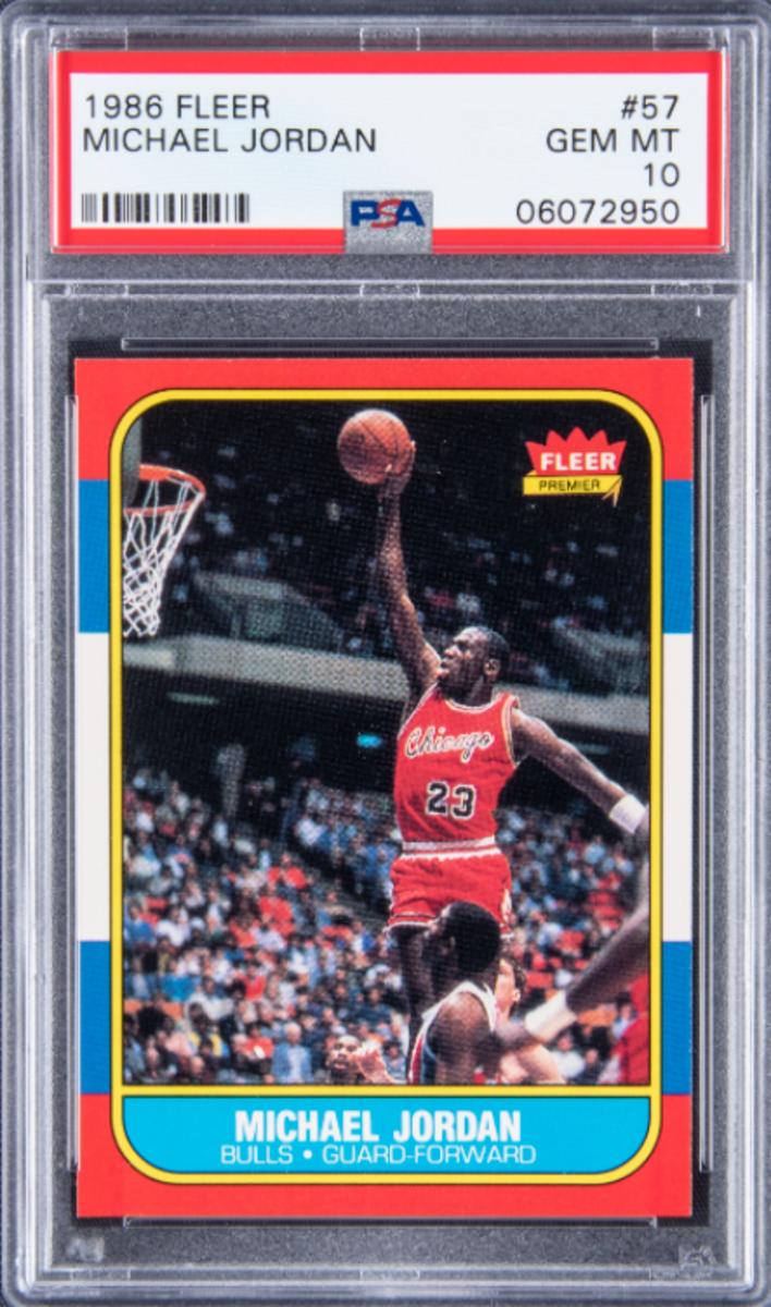 A 1986 Fleer Michael Jordan rookie card sold by Goldin Auctions.