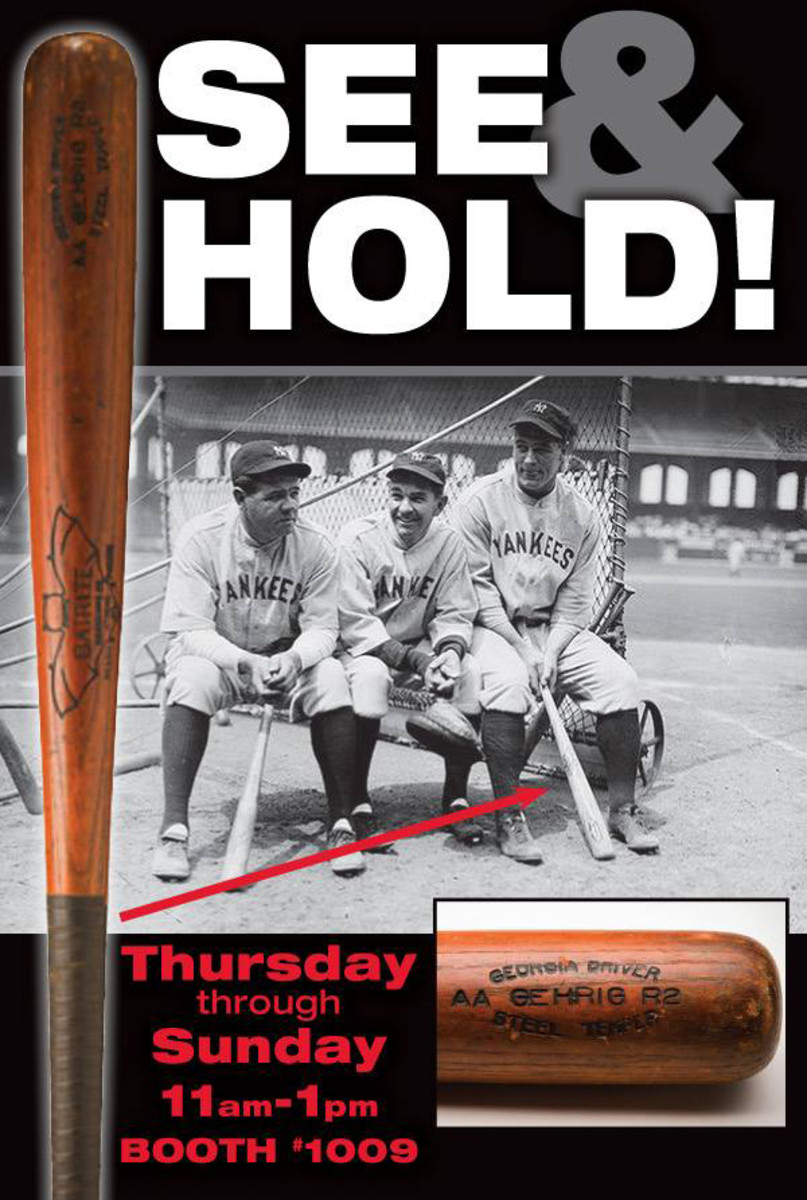 A photo-matched, game-used bat from Lou Gehrig will be on display at The National by Memory Lane Inc.