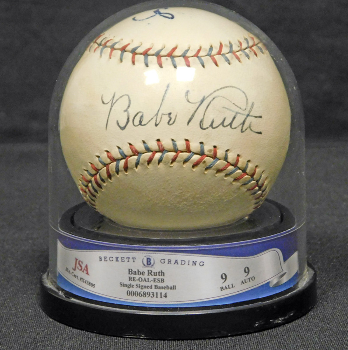 Babe Ruth-signed ball.