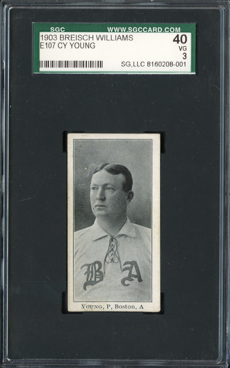 A 1903 Breisch Williams E107 Cy Young card.