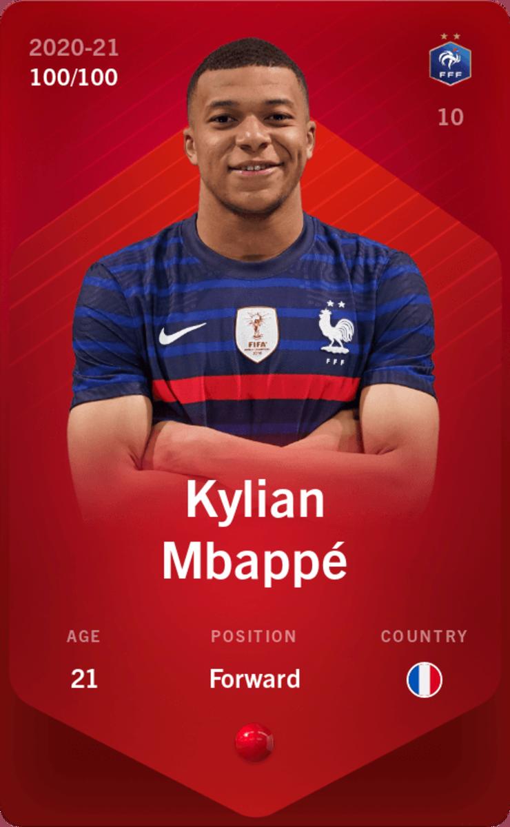 Digital trading card of soccer star Kylian Mbappe.
