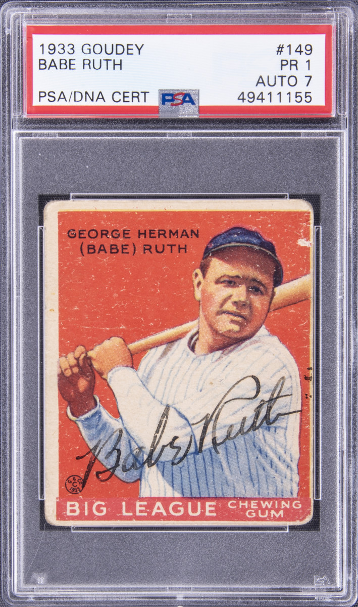 1933 Goudey card signed by Babe Ruth.