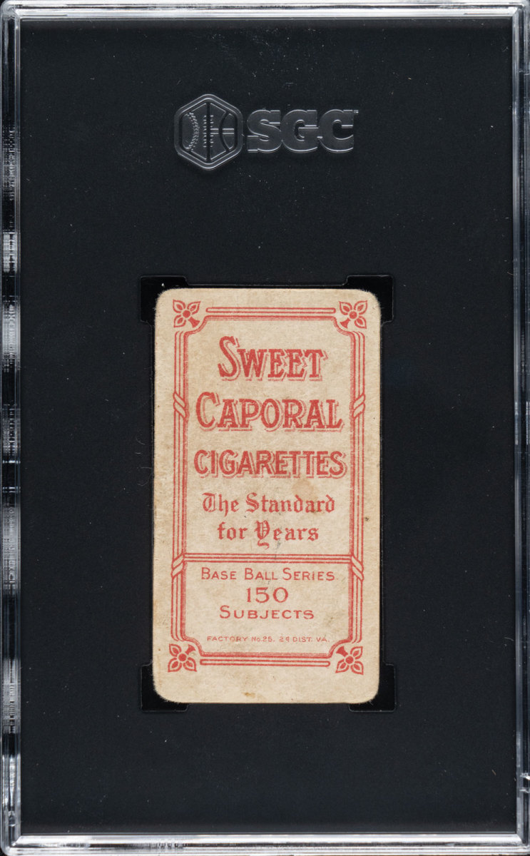 Back of T206 Honus Wagner card up for bid at Robert Edwards Auctions.
