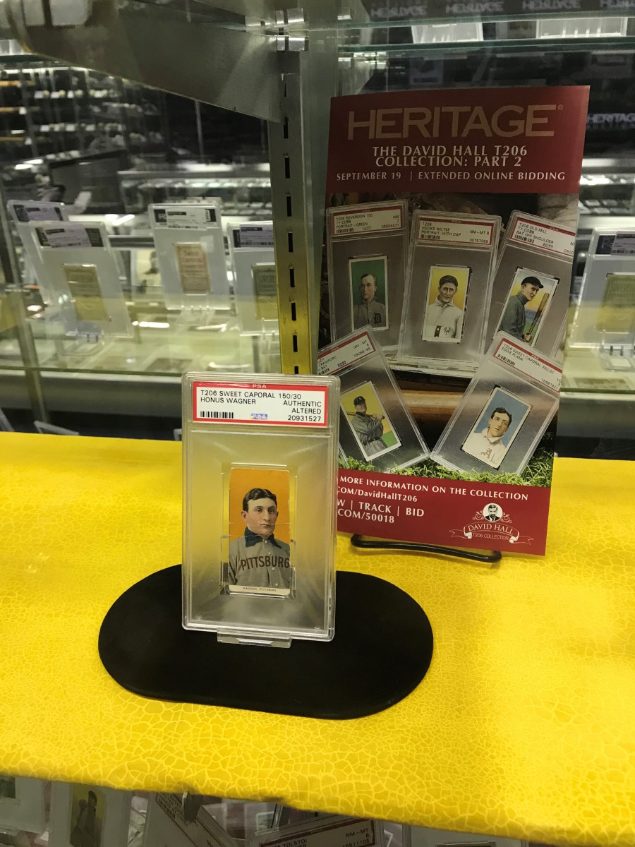 A T206 Honus Wagner card on display during the 2019 National.