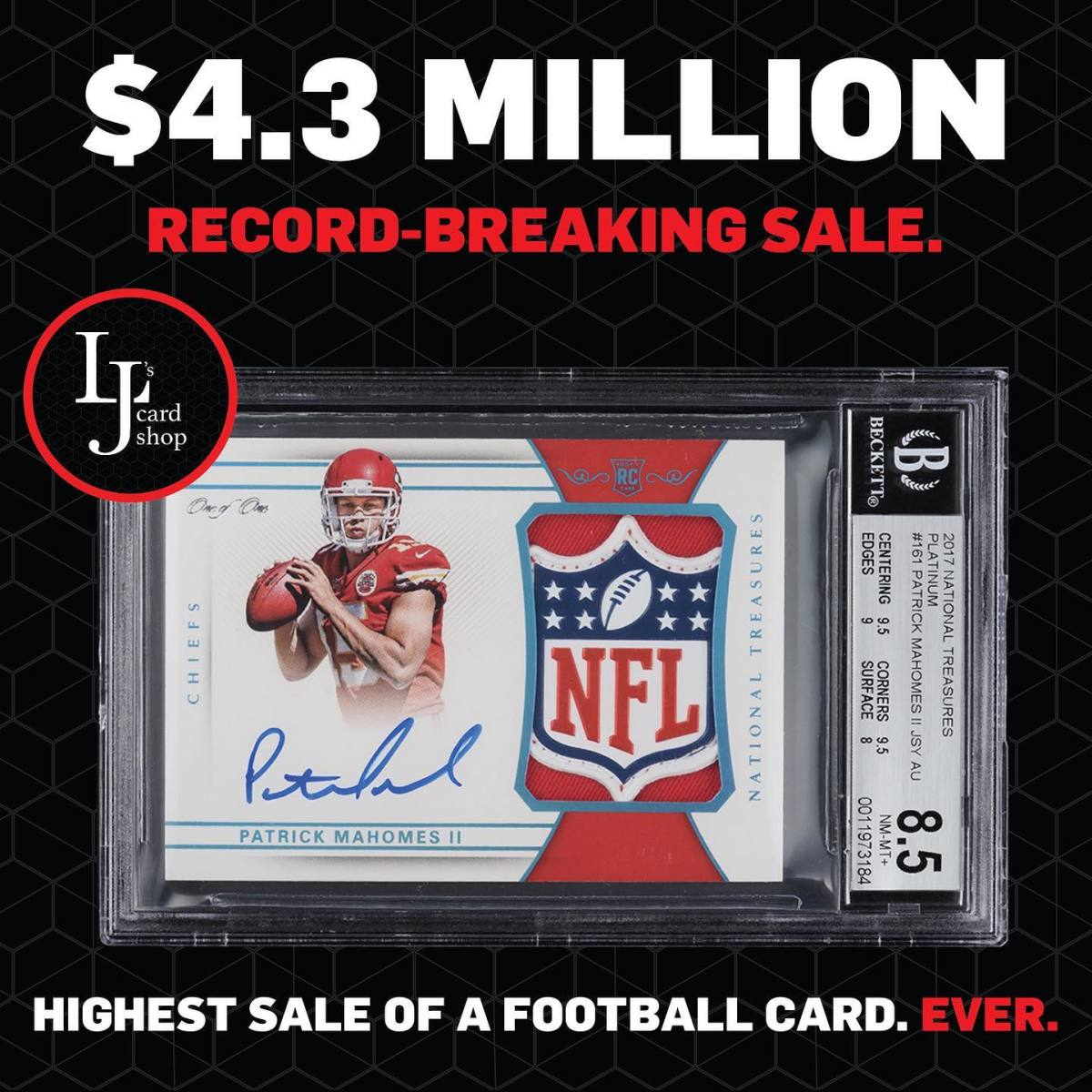 LJ's Card Shop promotes the purchase of a special Patrick Mahomes rookie card for $4.3 million.