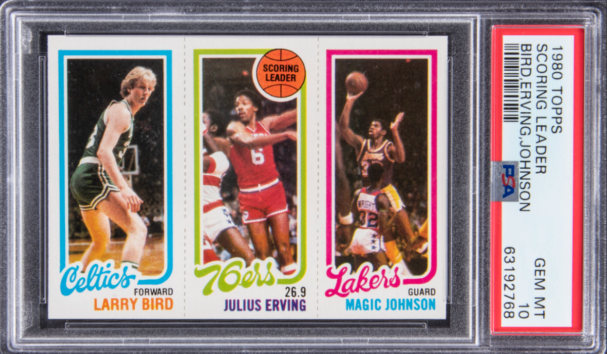 1980 Topps Larry Bird/Magic Johnson rookie card that set a record of $861,000 at Goldin Auctions.
