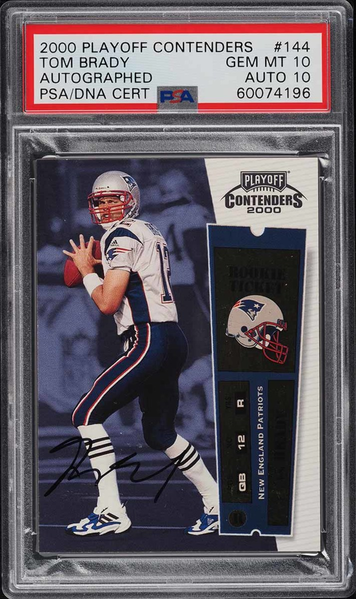 A 2000 Playoff Contenders Tom Brady autographed card in the PWCC Premier Auction.