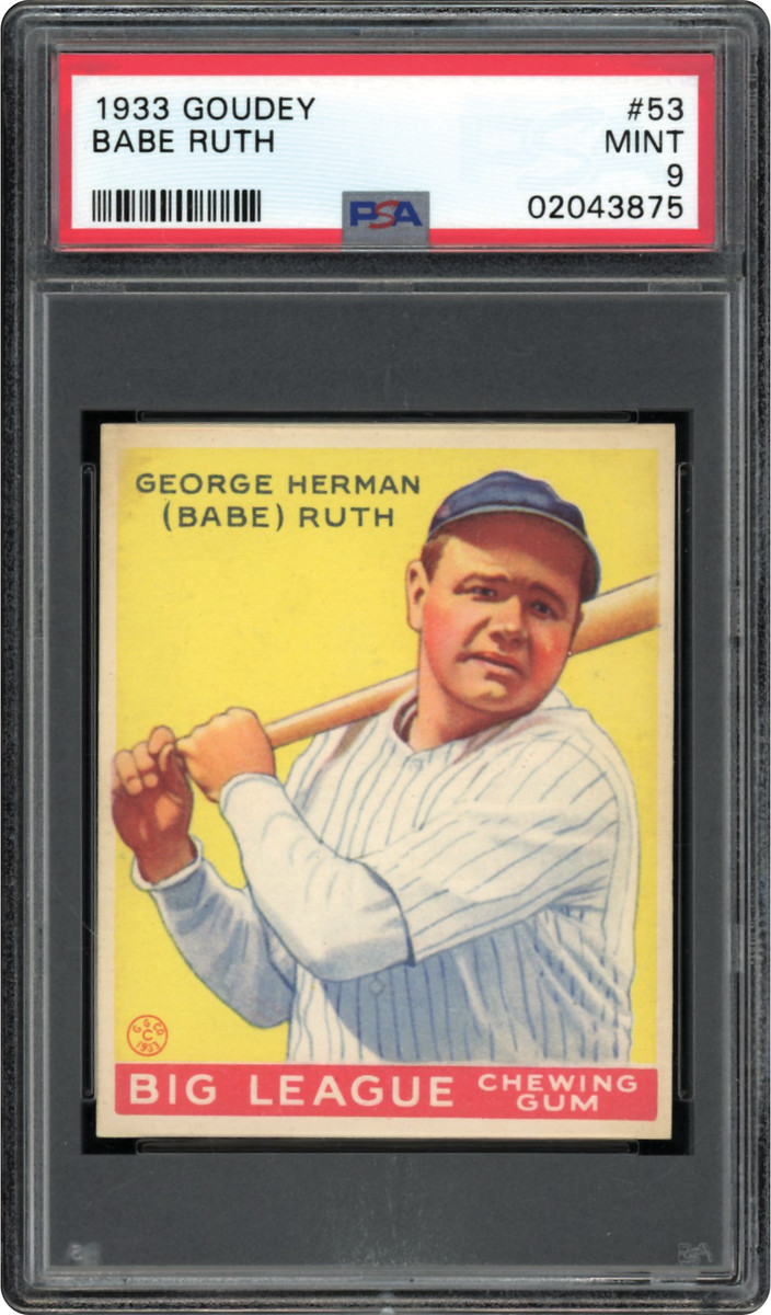 1933 Goudey Babe Ruth #53 card that sold for $4.2 million as part of the Thomas Newman Collection.