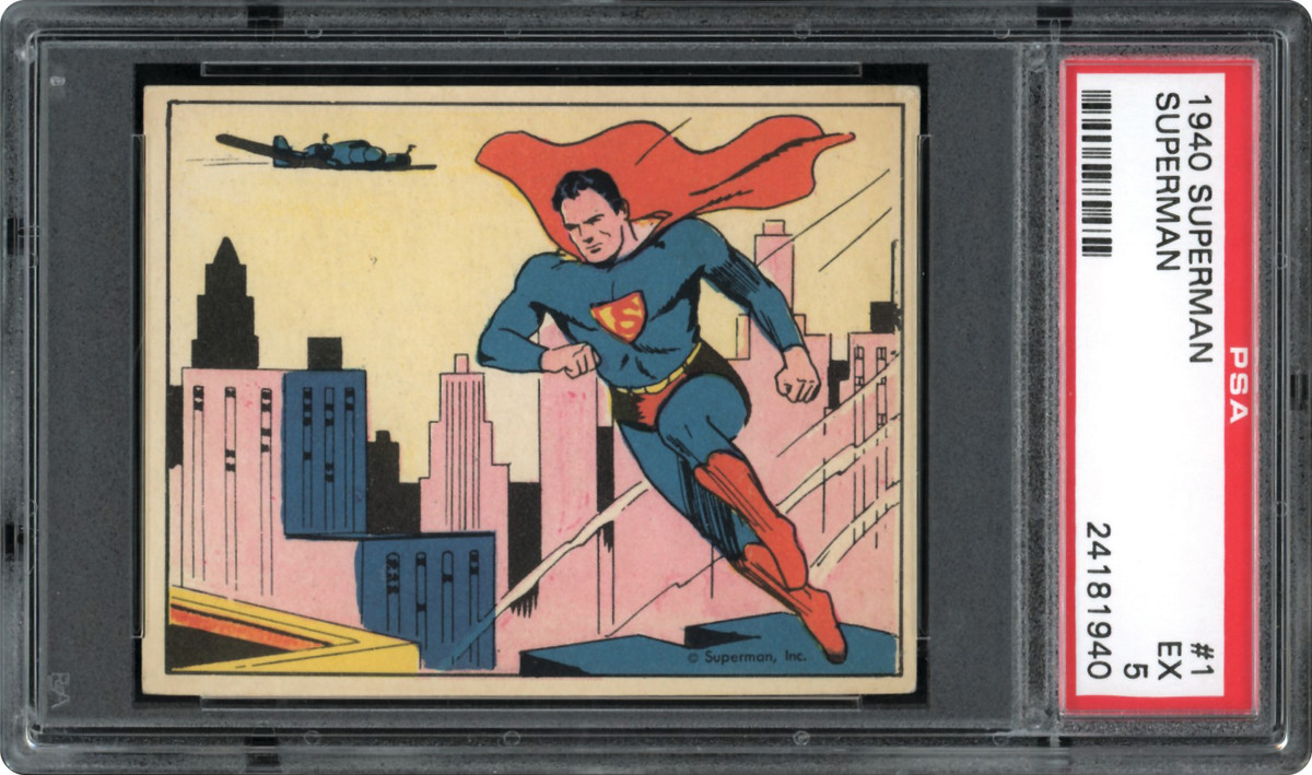 1940 Superman card that was part of the Thomas Newman Collection.