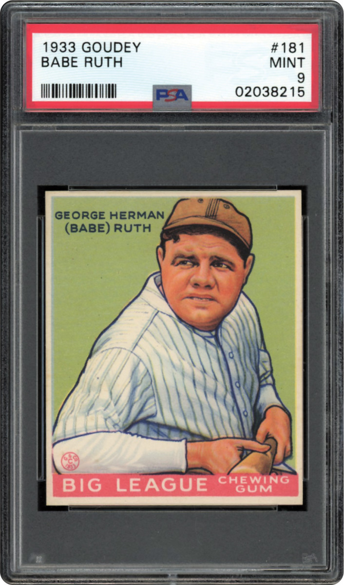 1933 Goudey Babe Ruth #181 that was part of the Thomas Newman Collection.