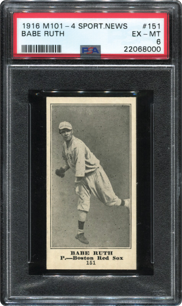 1916 Sporting News Babe Ruth card that was part of the Thomas Newman Collection.