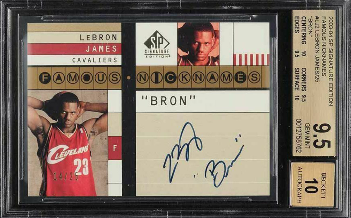 """LeBron James' 2003-04 SP Signature Famous Nicknames card, which he signed """"Bron."""""""