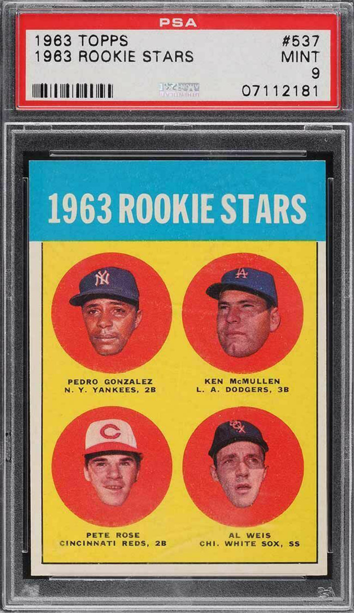 The 1963 Topps Rookie Stars card features Pete Rose and serves as the hit king's rookie card.