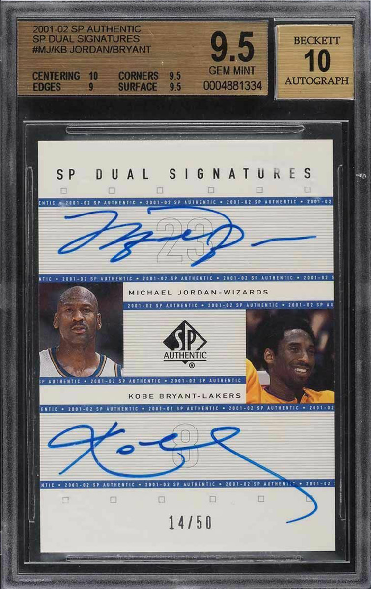 2001-02 SP Authentic Dual Signatures card signed by both Michael Jordan and Kobe Bryant.