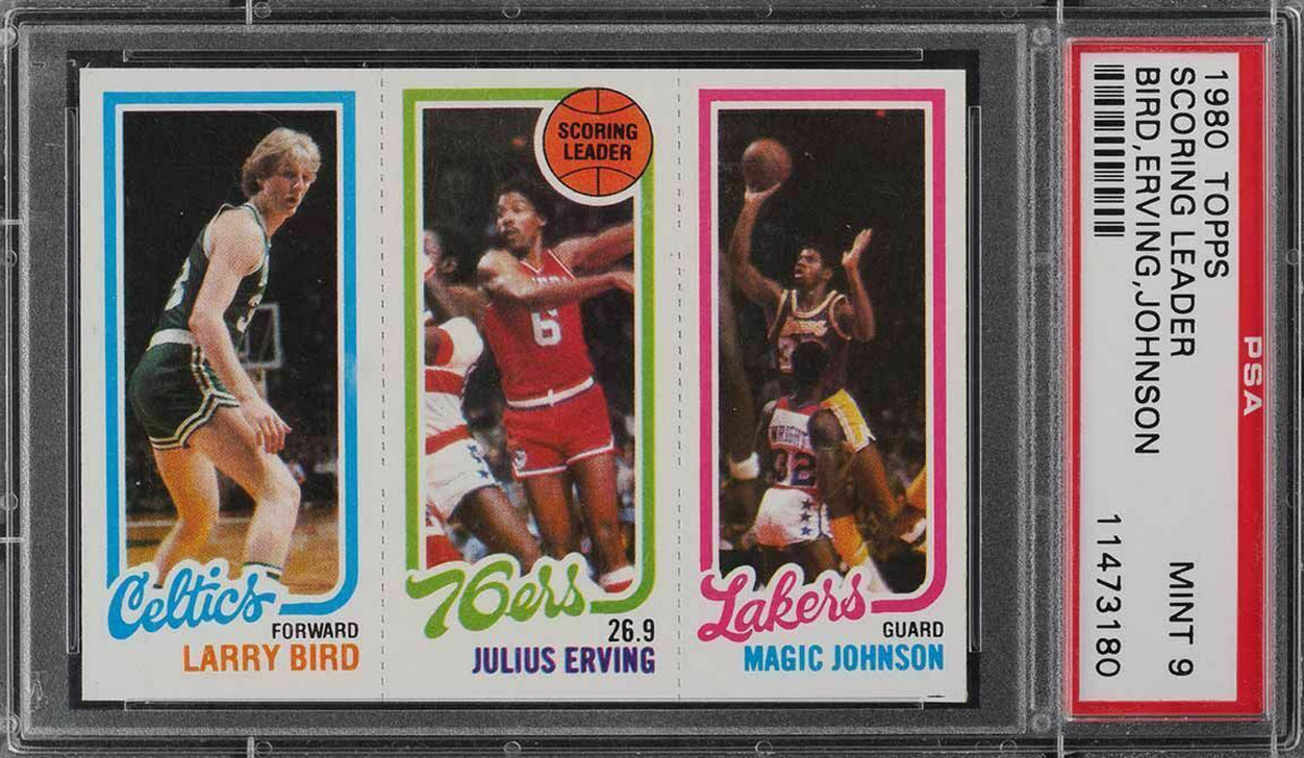 1980 Topps card featuring rookies Larry Bird and Magic Johnson, as well as Julius Erving.