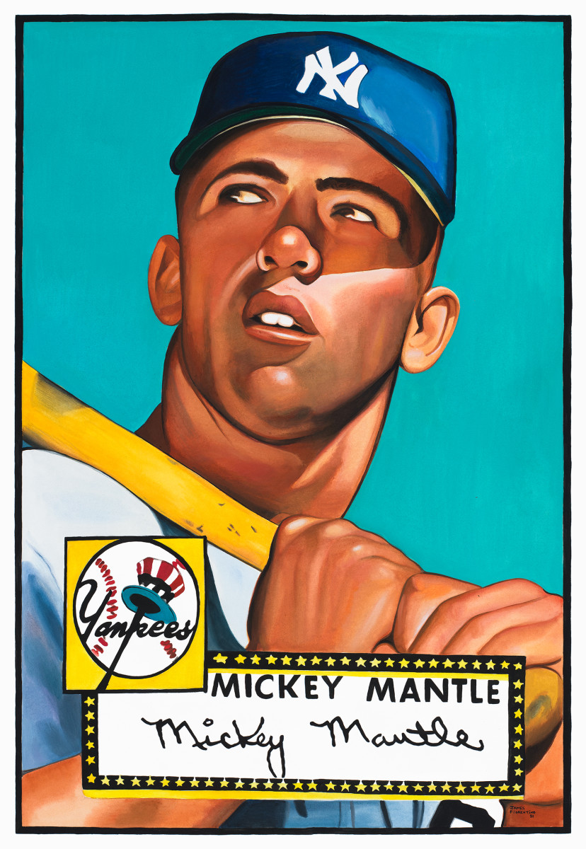 James Fiorentino's painting of the iconic 1952 Topps Mickey Mantle card.