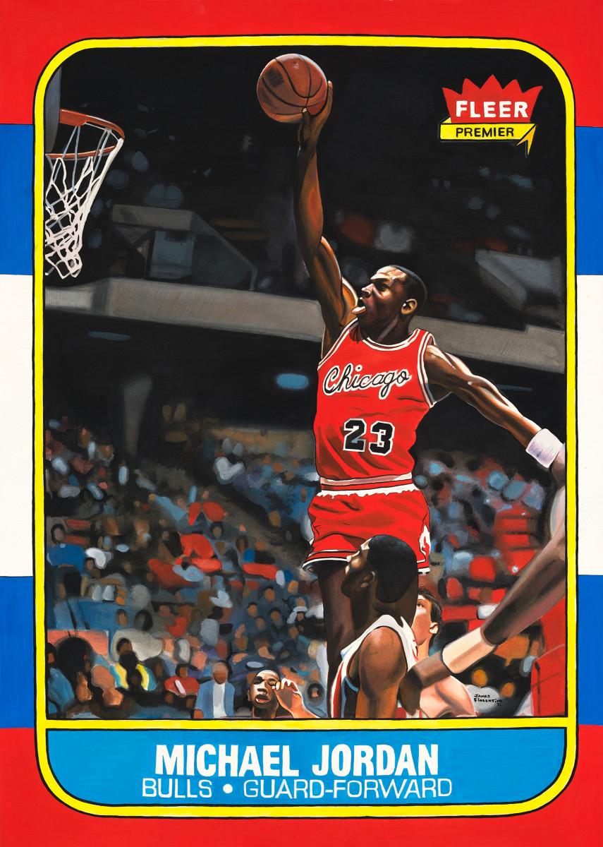James Fiorentino painting of the 1986-87 Fleer Michael Jordan rookie card.