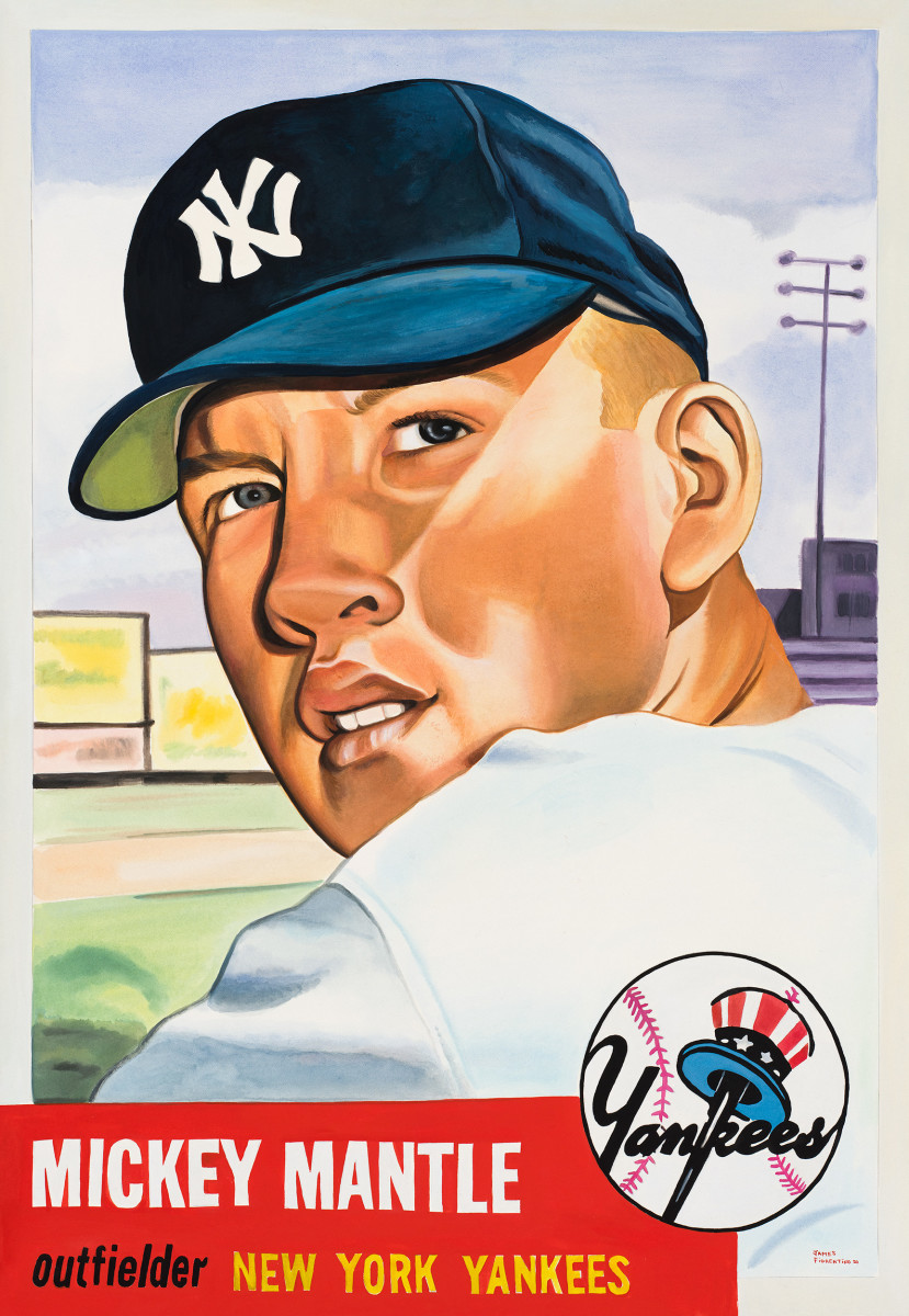 James Fiorentino painting of the 1953 Topps Mickey Mantle.