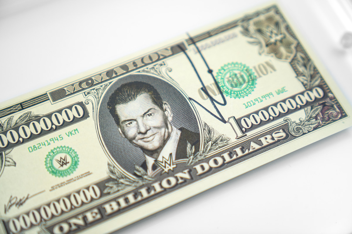 """Vince McMahon """"billion dollar bill"""" being auctioned by Goldin Auctions."""