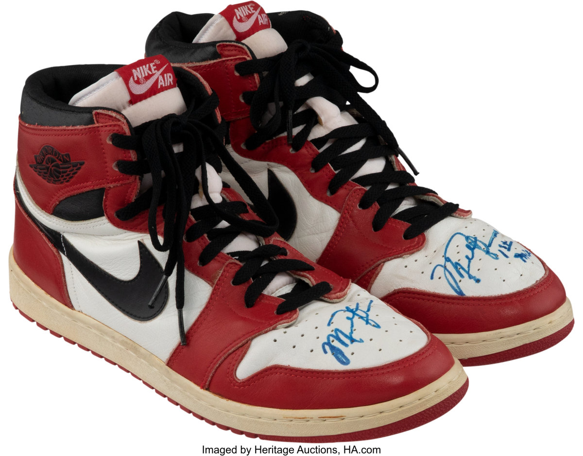 Game-won shoes signed by Michael Jordan.