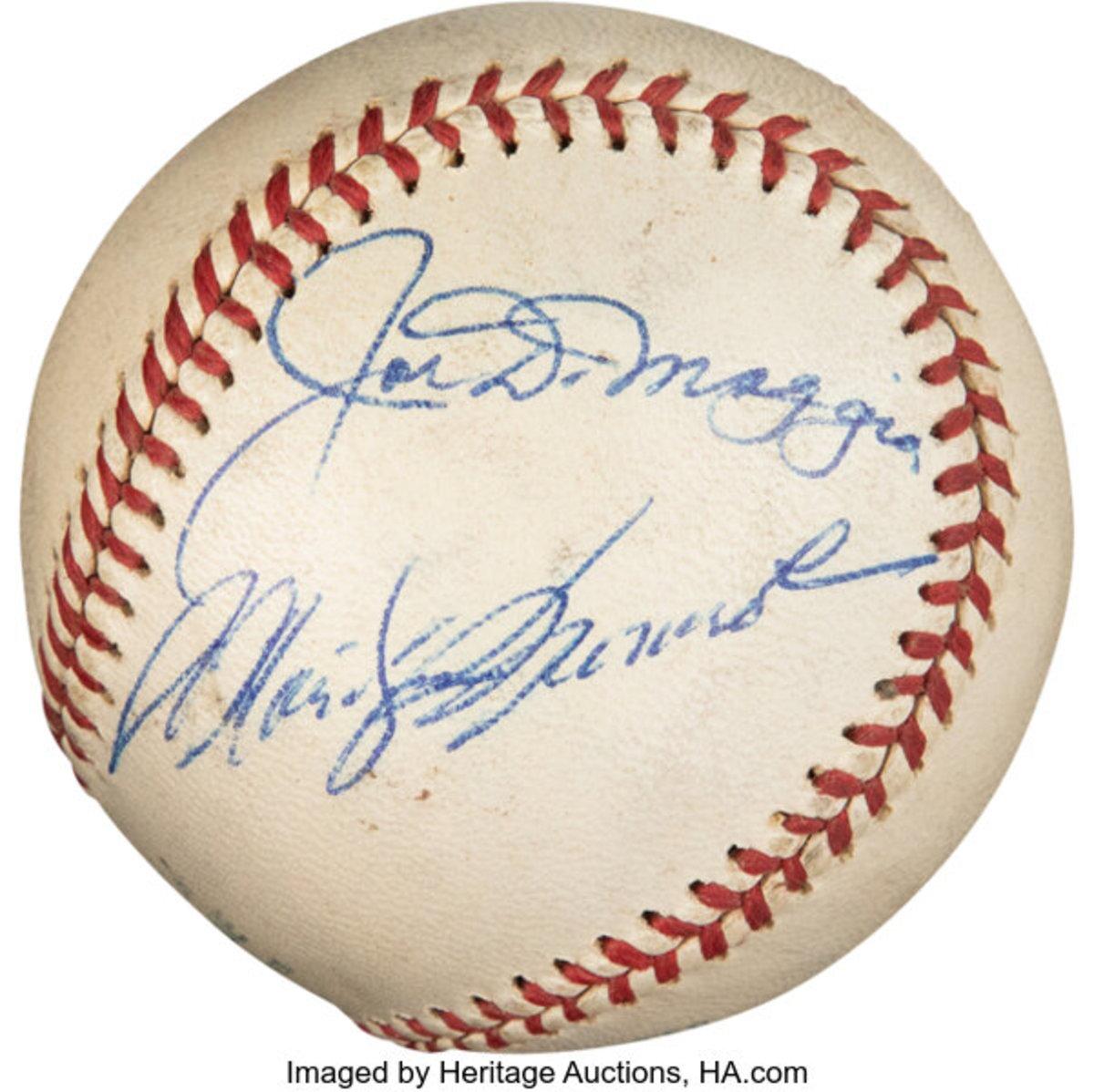Baseball signed by Joe DiMaggio and Marilyn Monroe.