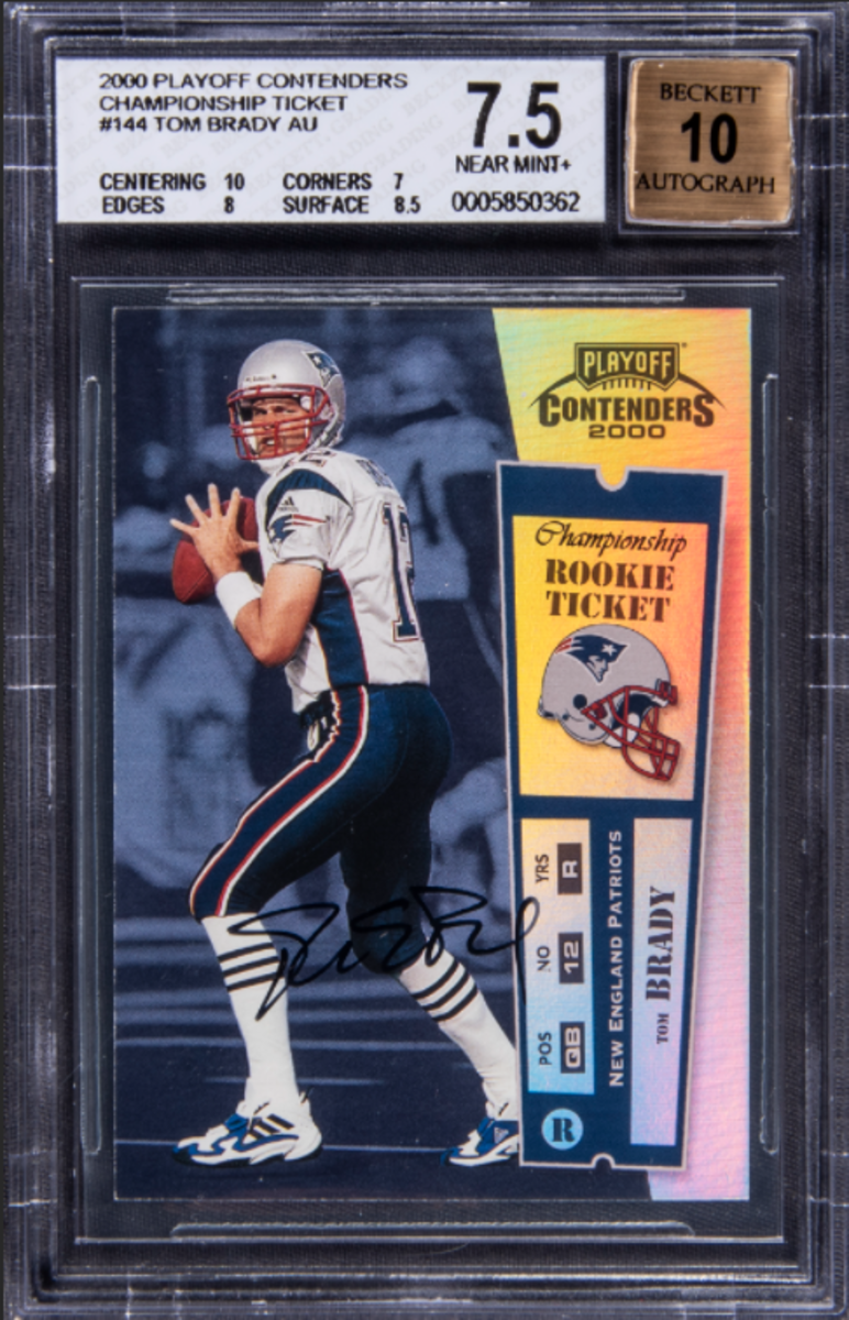 2000 Tom Brady Playoff Contenders Championship Ticket card sold by Goldin Auctions.