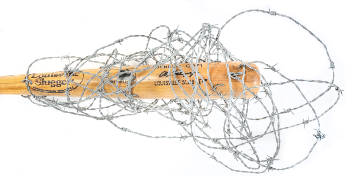 Barb wire bat used by WWE star Ric Flair in a 2006 SummerSlam match against Mick Foley.