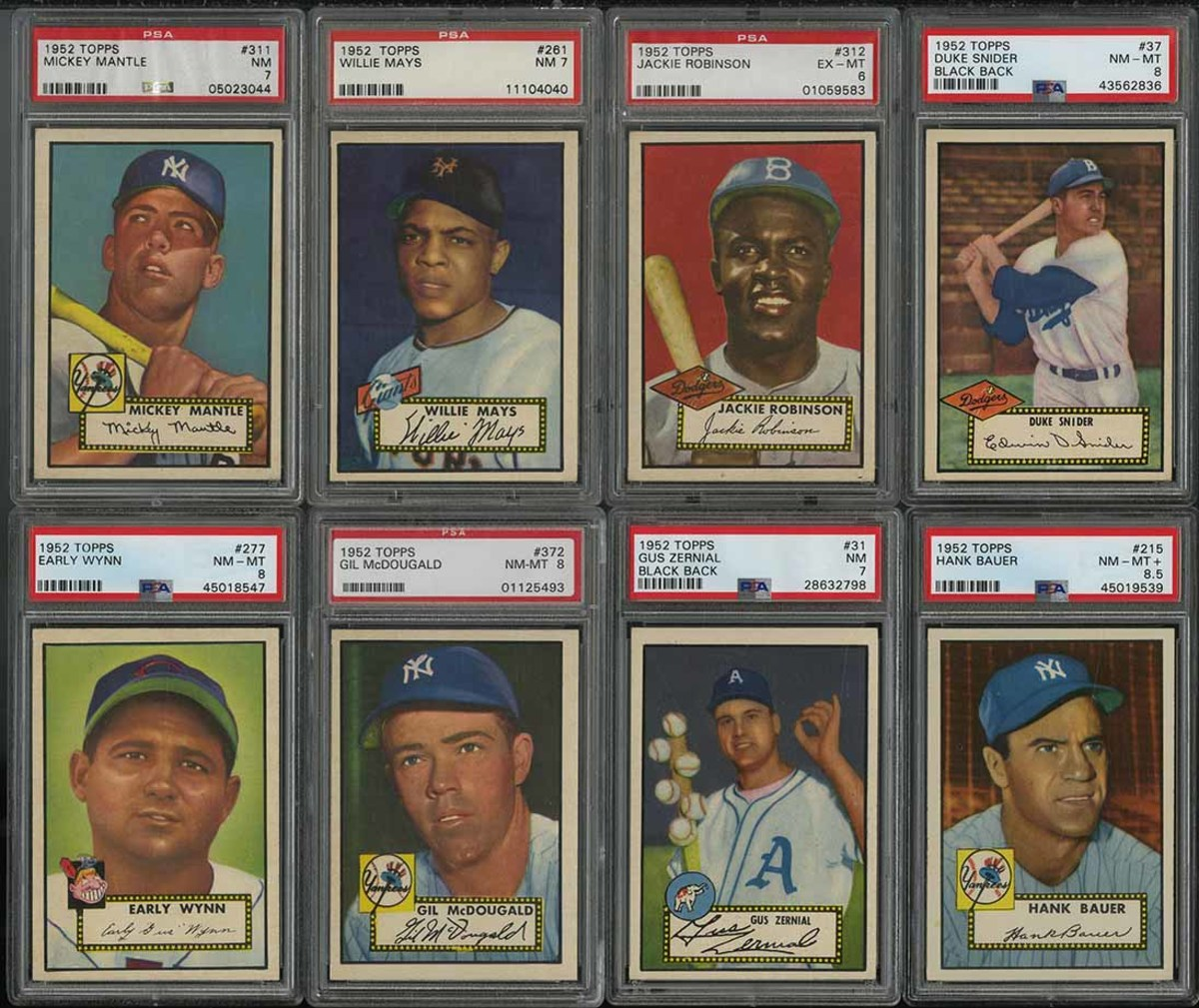 A 1952 Topps Baseball complete set featuring Mickey Mantle, Willie Mays and Jackie Robinson.