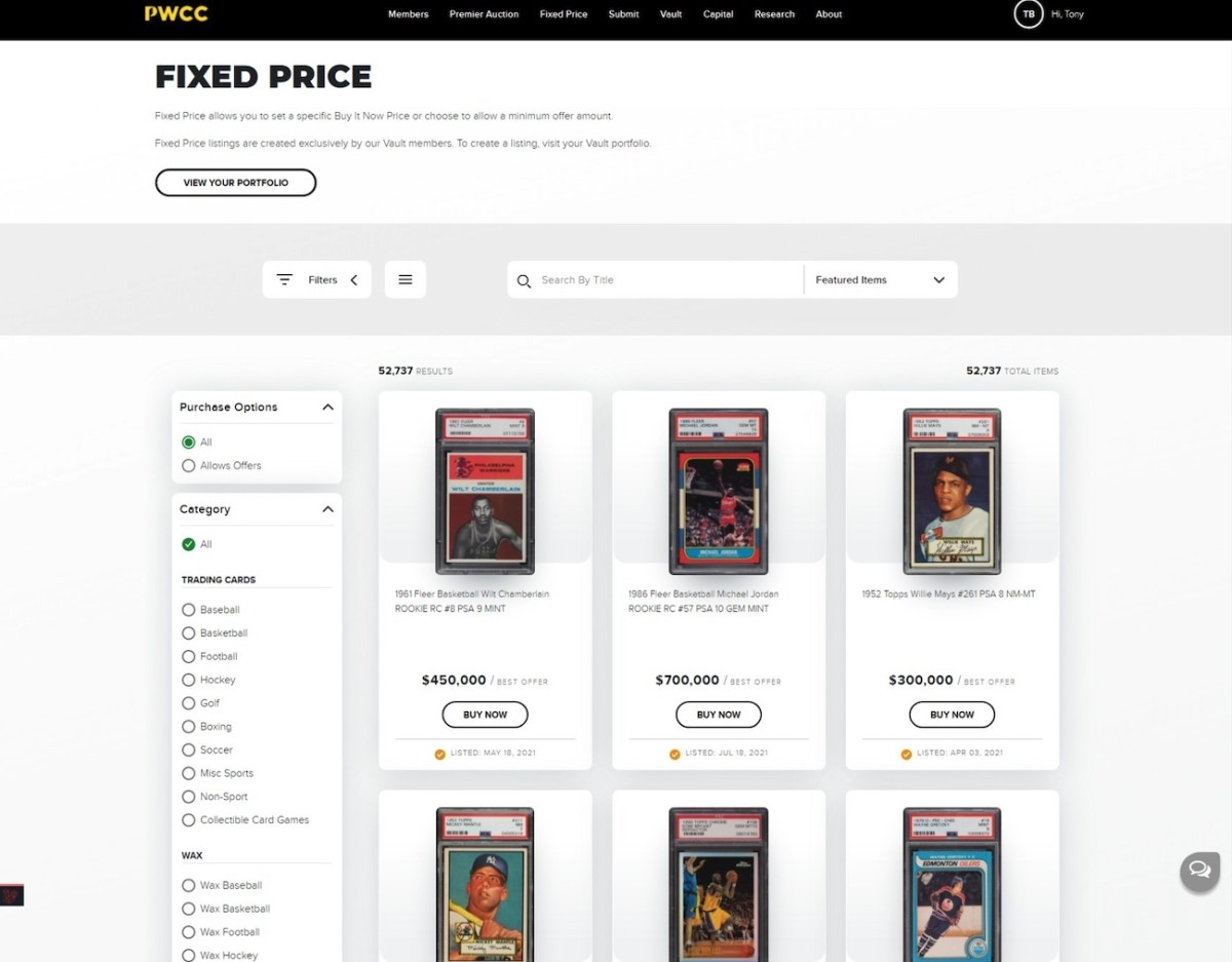 PWCC's Fixed Price Marketplace.