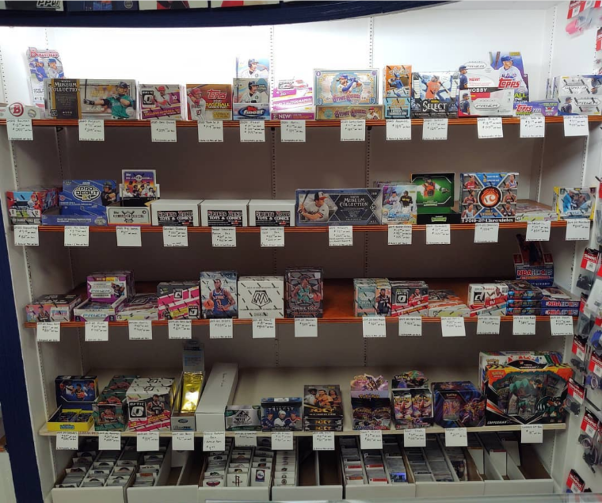 Sports card boxes and packs at Sports Zone Toys & Comics in Sunbury, Pa.
